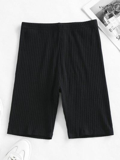 ZAFUL Ribbed High Waisted Biker Shorts - Black L