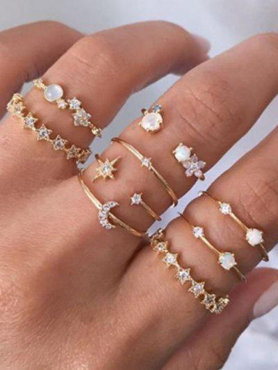 9Pcs Stern Mond Strass Ringe Set - Golden