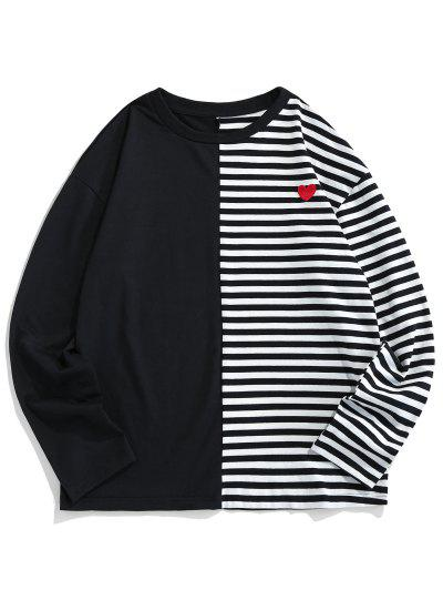 ZAFUL Colorblock Striped Embroidery T-shirt - Black S