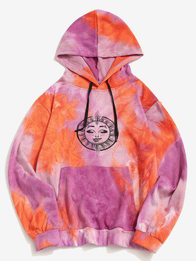 Tie Dye Sun Moon Print Kangaroo Pocket Hoodie - Orange L