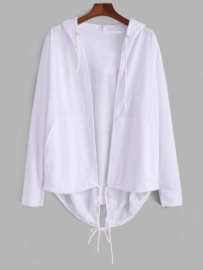 Hooded Front Pocket Dovetail Jacket - White 2xl