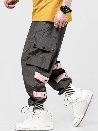 Contrast Striped Flap Pockets Casual Cargo Pants - Gray Xs