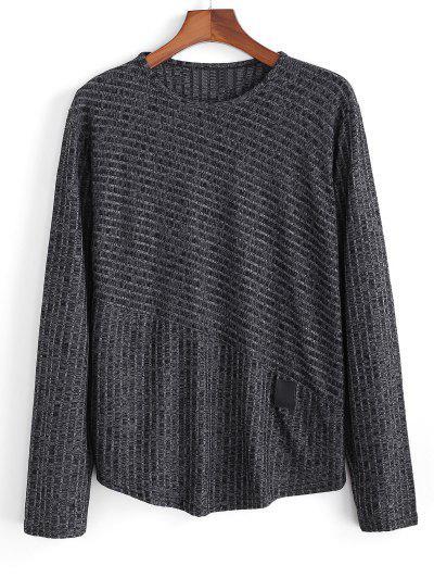 Heathered Ribbed Knit Long Sleeve Top - Black 2xl