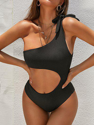 ZAFUL Ribbed One Shoulder Cutout One-piece Swimsuit - Black M