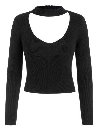 Ribbed Fitted Cutout Choker Sweater - Black S