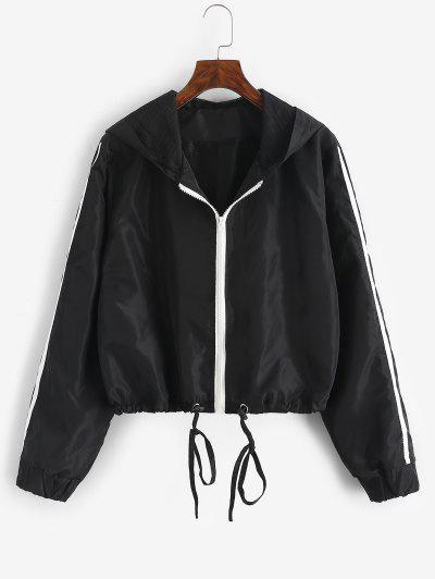 Hooded Side Striped Mesh Lining Windbreaker Jacket - Black S