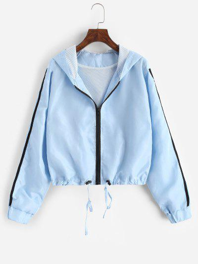 Hooded Side Striped Mesh Lining Windbreaker Jacket - Light Blue S