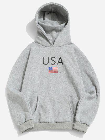 American Flag USA Print Fleece Hoodie With Face Warmer - Light Gray 2xl