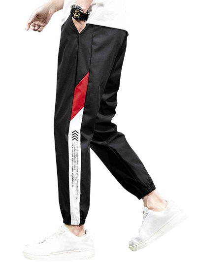Letter Print Contrast Tapered Casual Pants - Black M