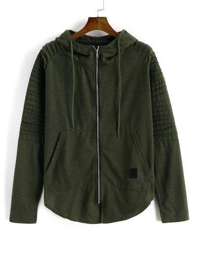Kangaroo Pocket Stitching Detail Zip Up Hoodie - Army Green M