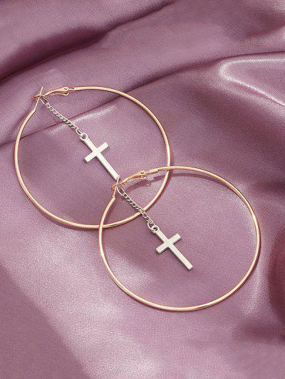 Cross Pendant Hoop Earrings - Golden