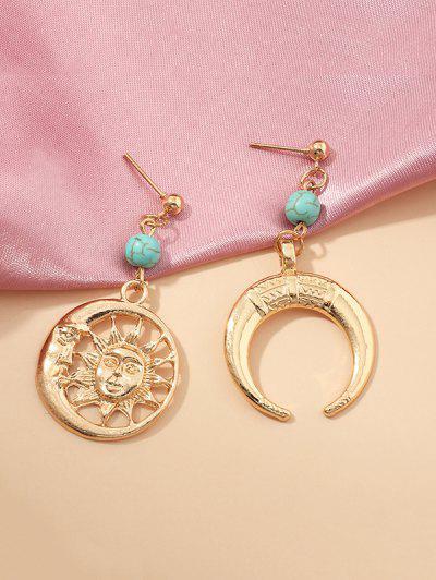 Sun And Moon Hollow Earrings - Golden