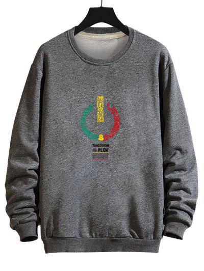 Music Switch Power Graphic Drop Shoulder Casual Sweatshirt - Gray L