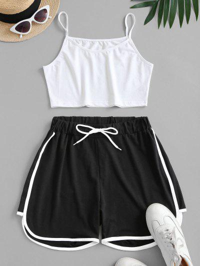 Crop Cami Top And Piping Shorts Set - Multi L