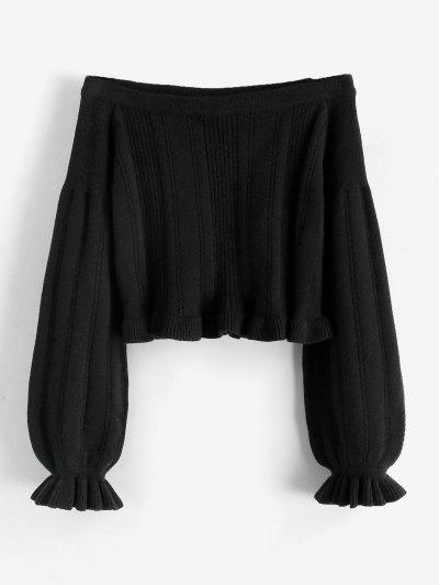 Poet Sleeve Off Shoulder Ruffle Jumper Sweater - Black M