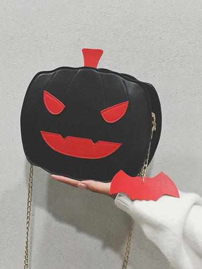 Halloween Pumpkin Bat Chain Crossbody Bag - Black