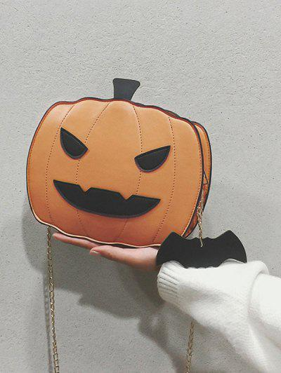 Halloween Pumpkin Bat Chain Crossbody Bag - Laranja Escuro