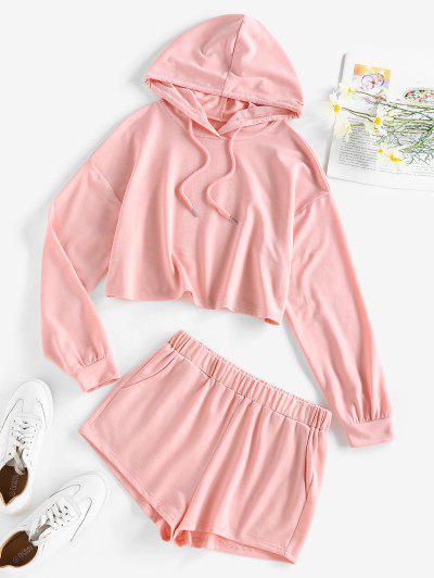 ZAFUL Hooded Drop Shoulder Pocket Shorts Set - Pink S
