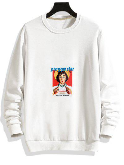 Photographic Print Rib-knit Trim Pullover Sweatshirt - White Xl
