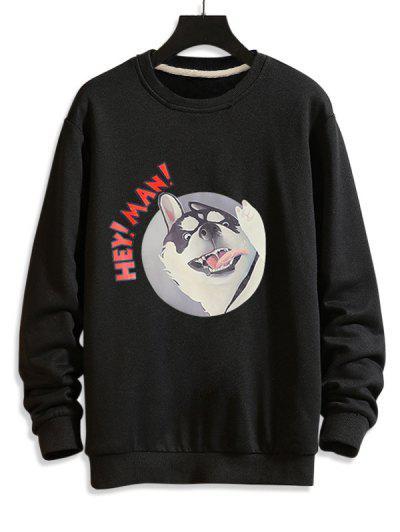Cartoon Dog Print Rib-knit Trim Sweatshirt - Black Xs