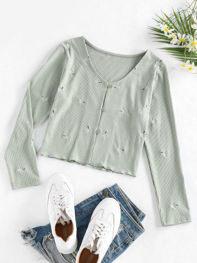ZAFUL Rib Knit Floral Embroidery Cardigan - Light Green L