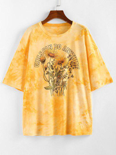 ZAFUL Sunflower Slogan Tie Dye Drop Shoulder T-shirt - Yellow M
