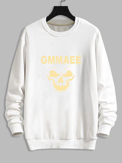 Halloween Skull Print Rib-knit Trim Sweatshirt - White M