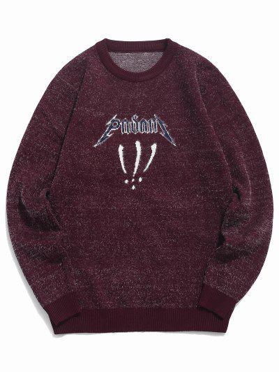 Fuzzy Crew Neck Graphic Sweater - Red Wine M