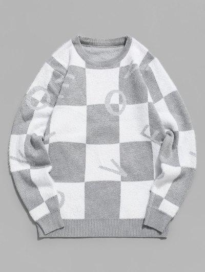 Flaumiger Pullover Mit Buchstabe Grafik - Grau Xs