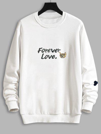 Casual Dog Graphic Drop Shoulder Sweatshirt - White S