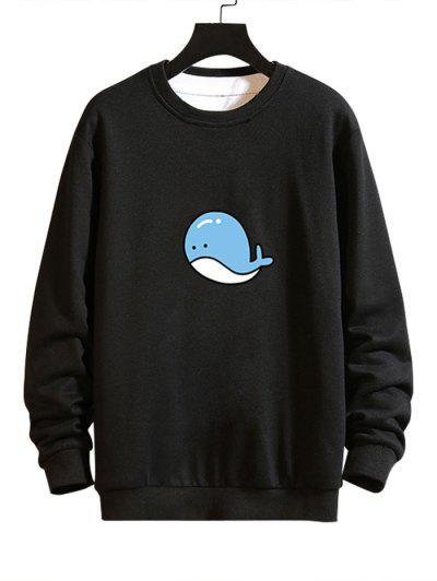 Cartoon Whale Graphic Casual Drop Shoulder Sweatshirt - Black L