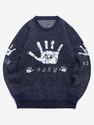 Hand Graphic Fuzzy Ribbed Trim Jumper Sweater - Cadetblue S