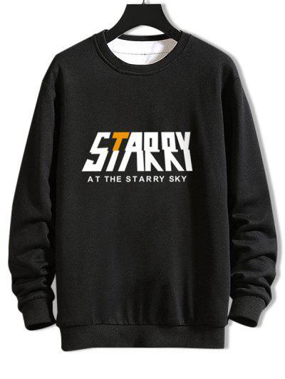 Casual Starry Graphic Crew Neck Sweatshirt - Black M