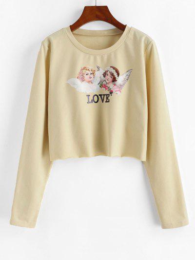 ZAFUL Cropped Renaissance Angle Print Sweatshirt - Apricot L