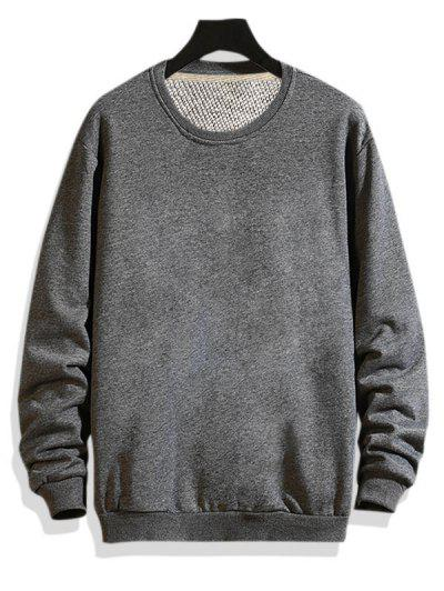 Pure Color Drop Shoulder Crew Neck Sweatshirt - Gray S