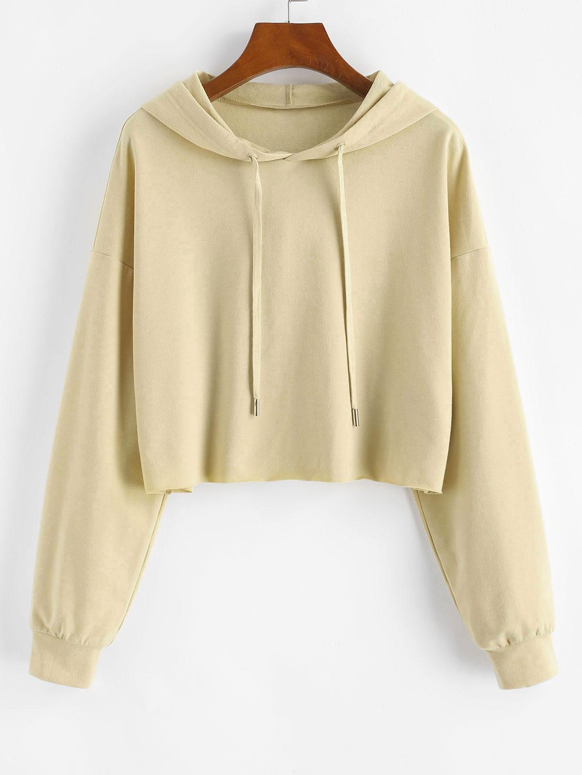 ZAFUL Drawstring Basic Crop Hoodie