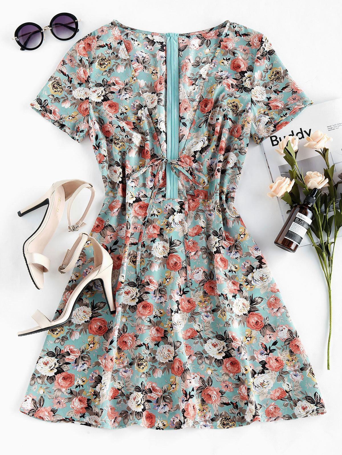 ZAFUL Floral Print Plunging Neck Self Tie Dress
