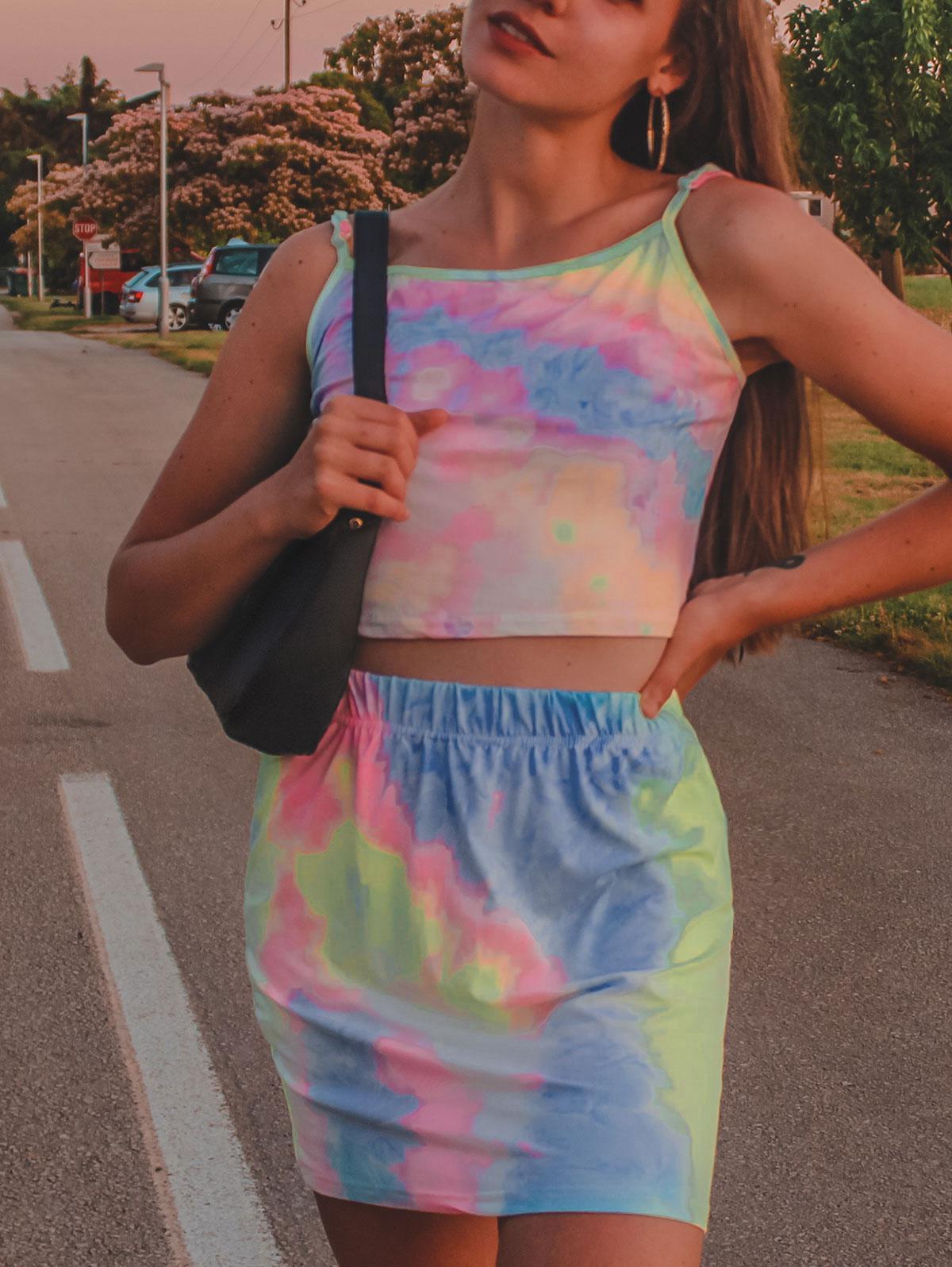 Neon Tie Dye Two Piece Dress