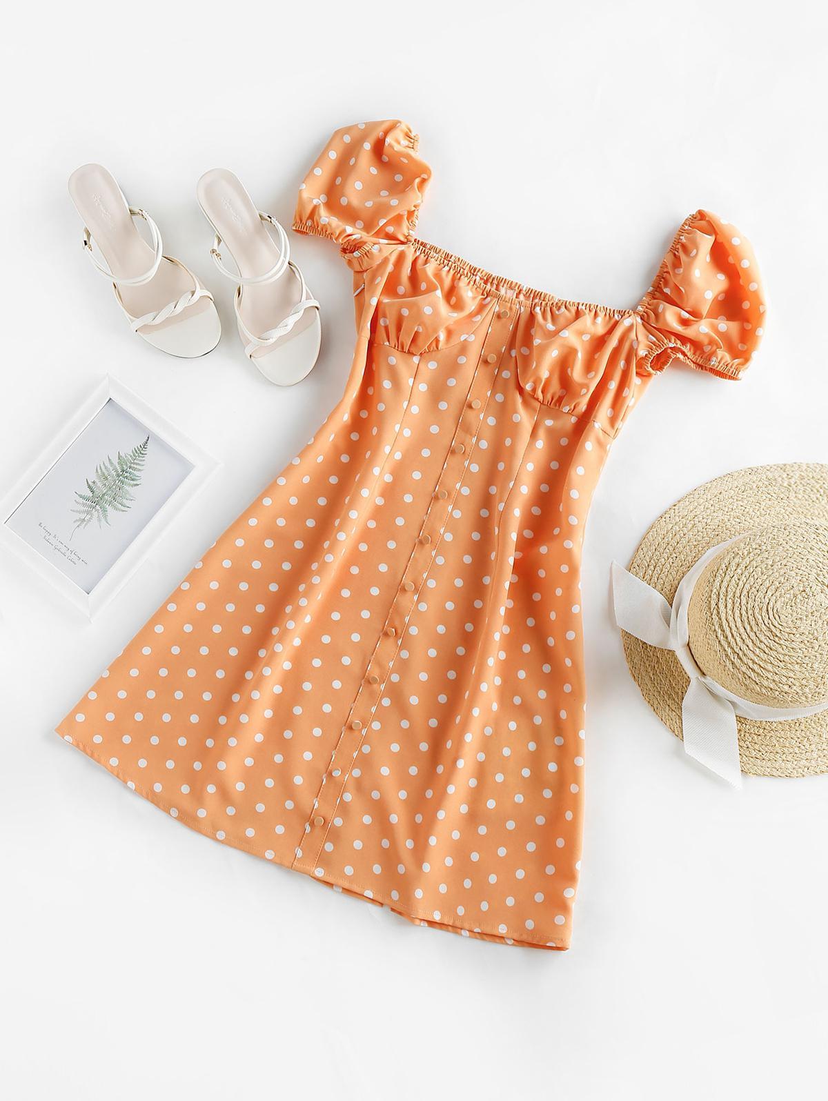 ZAFUL Polka Dot Button Embellished Cupped Dress