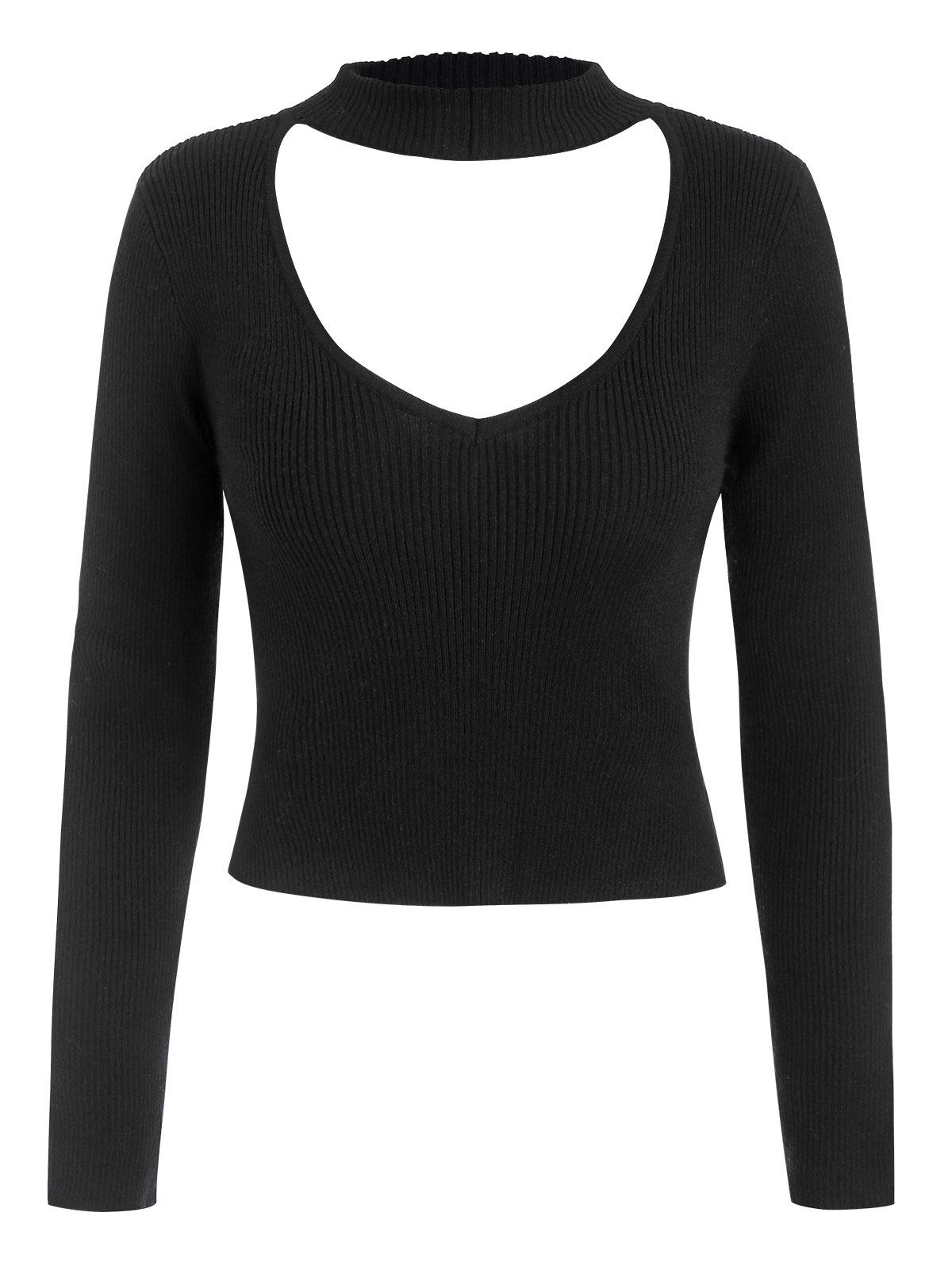 Ribbed Fitted Cutout Choker Sweater
