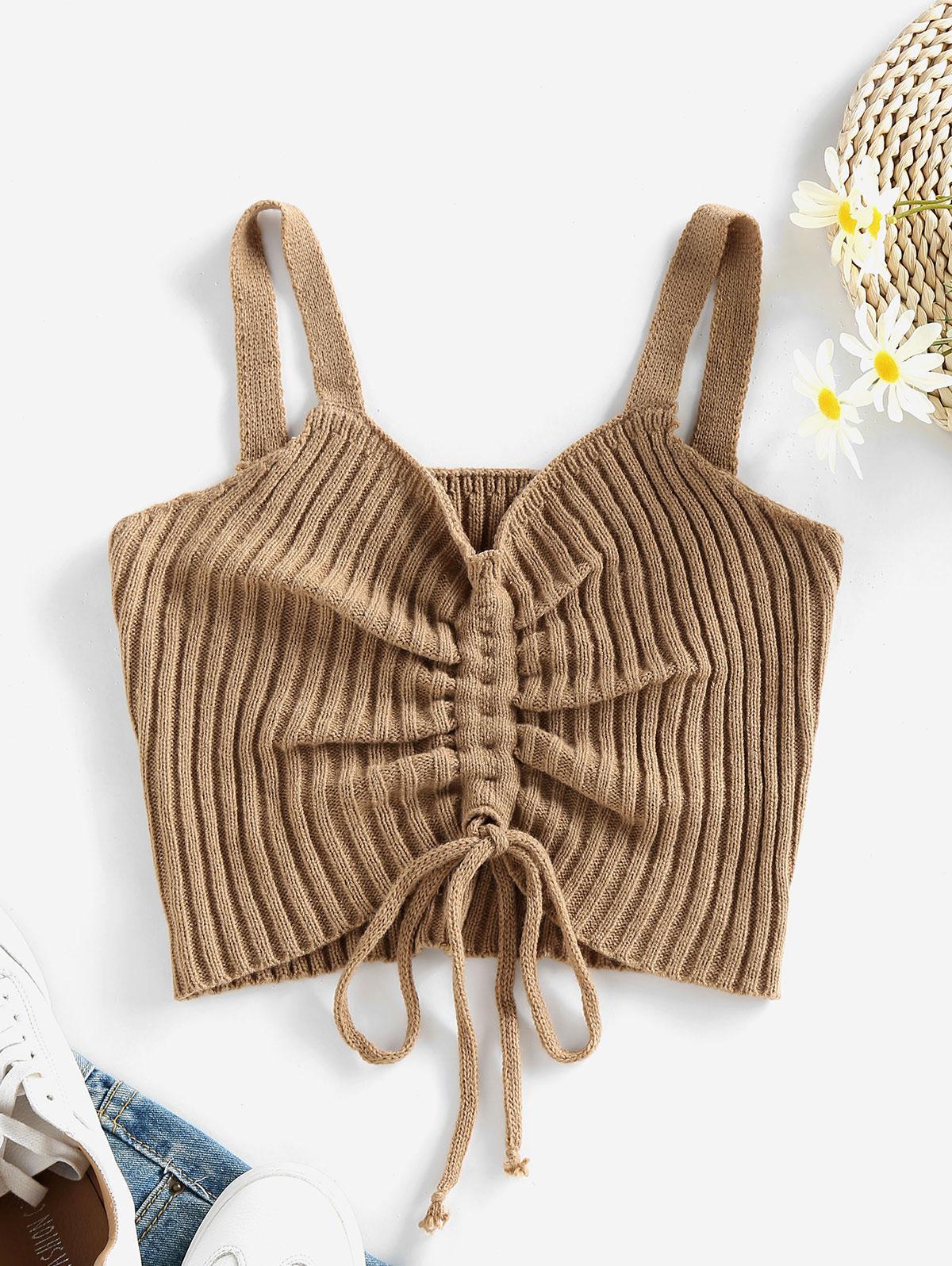 ZAFUL Sleeveless Cinched Rib Knit Crop Sweater