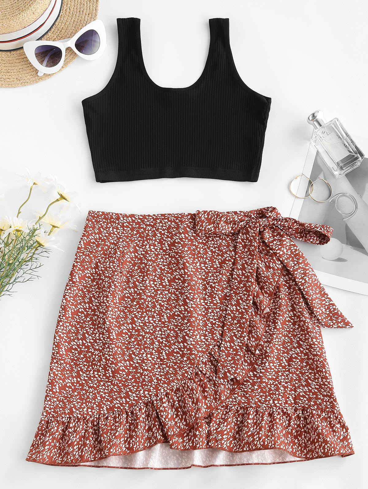 Ribbed Ditsy Floral Ruffles Two Piece Dress