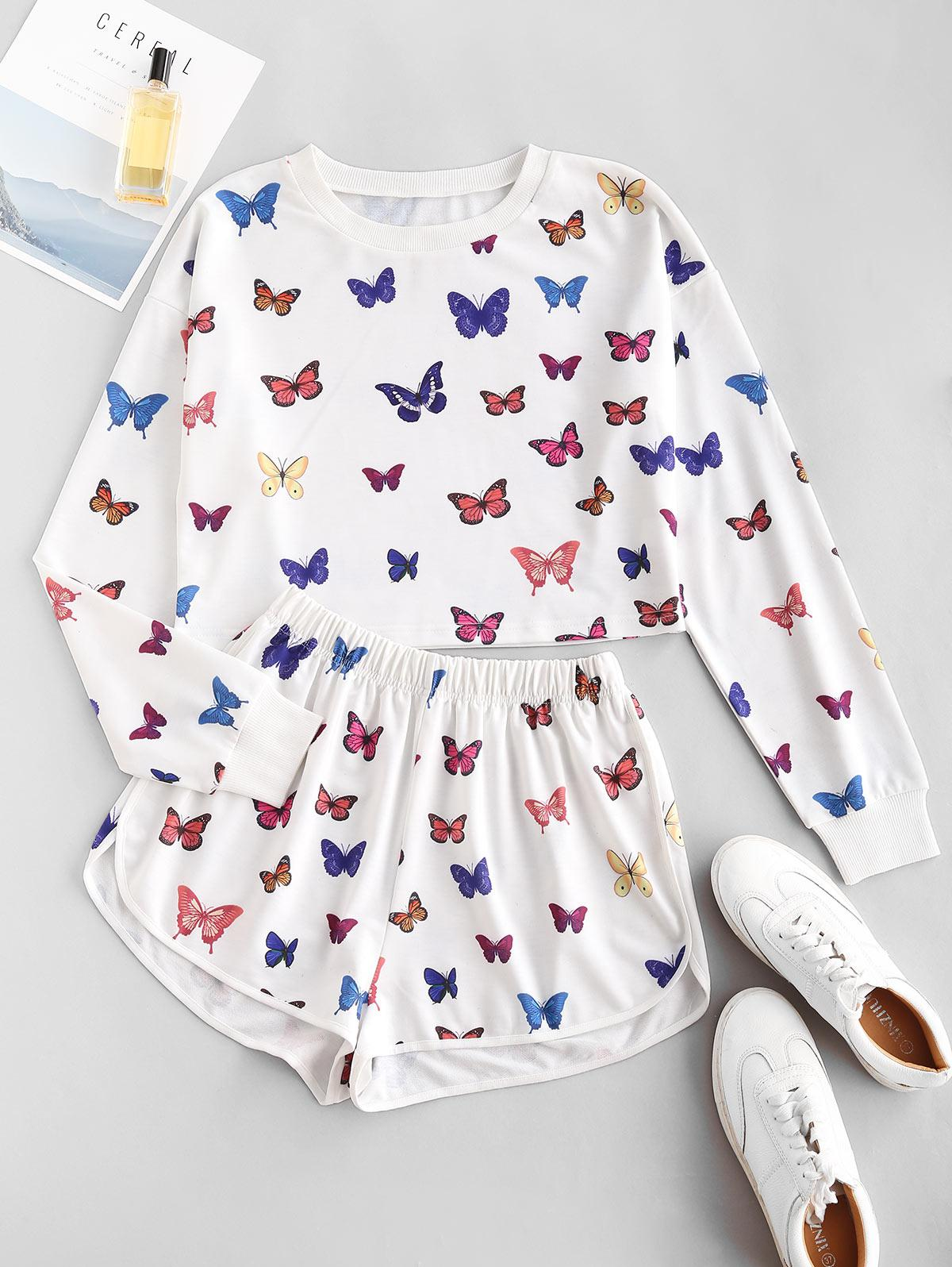 Sweat Butterfly Print Two Piece Shorts Set