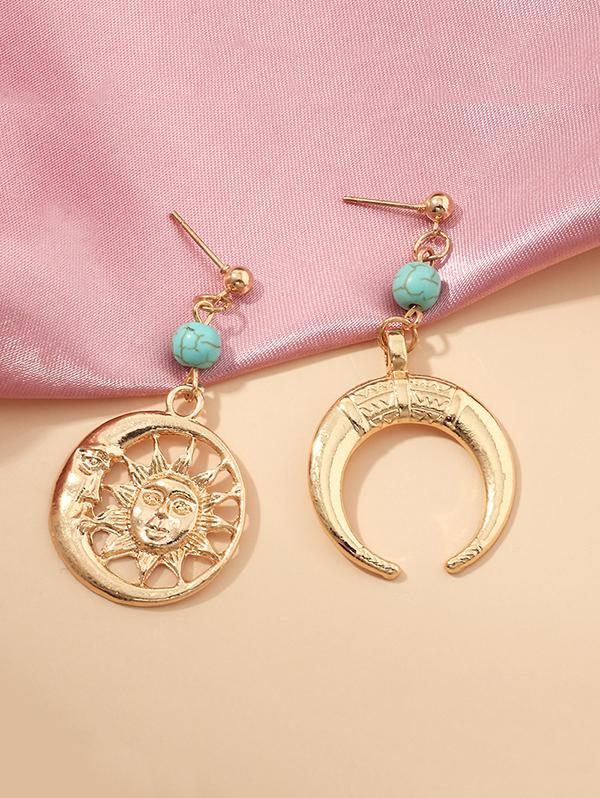Sun And Moon Hollow Earrings
