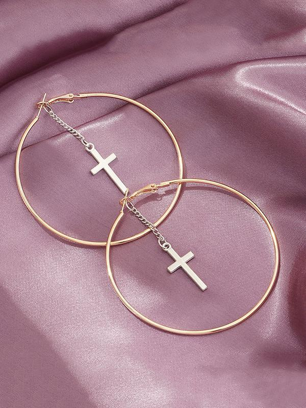 Cross Pendant Hoop Earrings