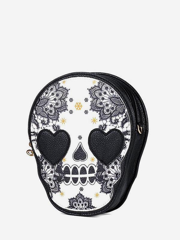 Skull Print Small Leather Crossbody Bag