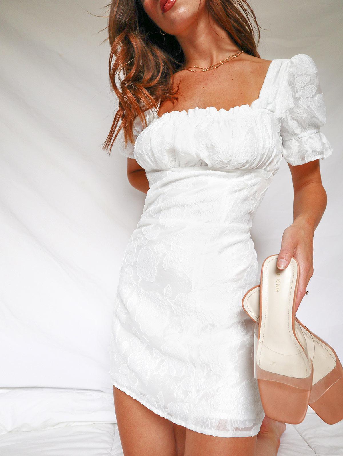 Back Zipper Floral Mini Milkmaid Dress