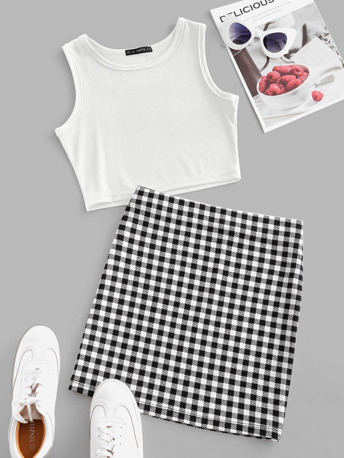 Checked Sleeveless Crop Two Piece Suit