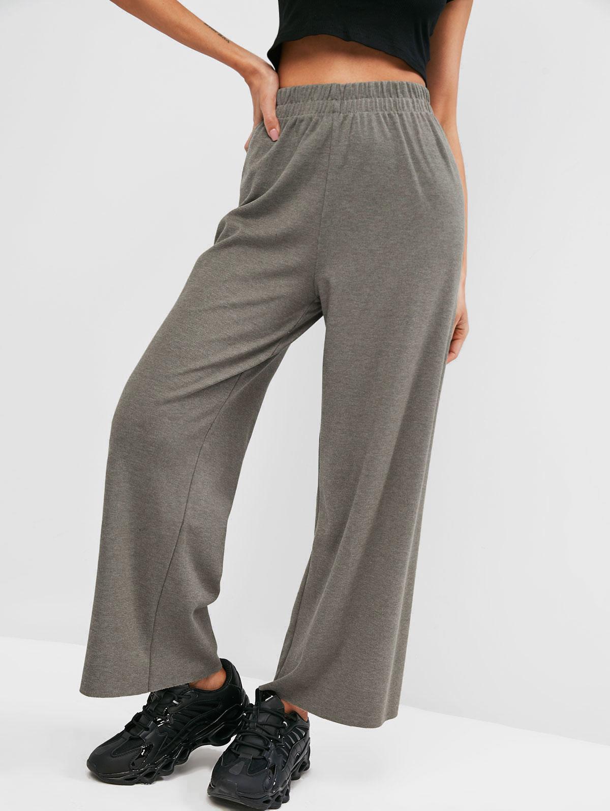 Raw Hem Jersey Wide Leg Pants