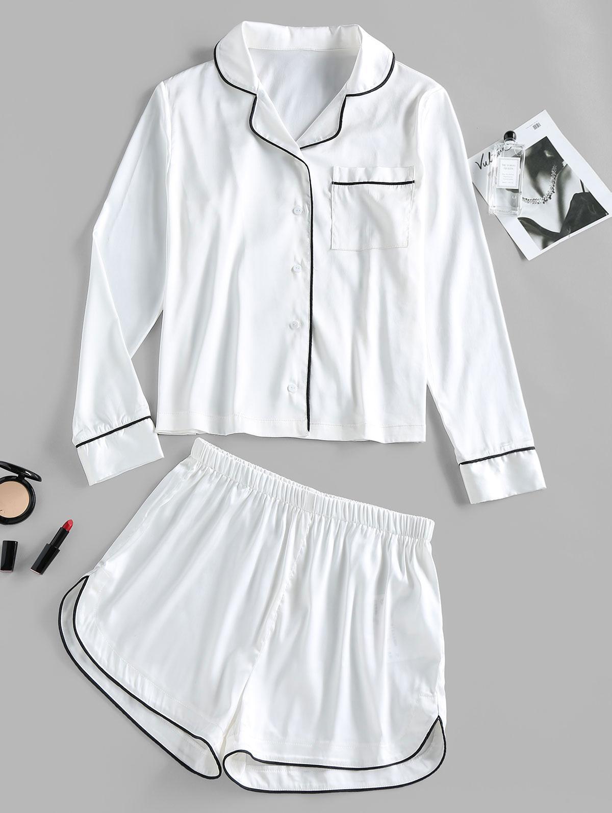 ZAFUL Contrast Binding Pocket Satin Pajama Shorts Set
